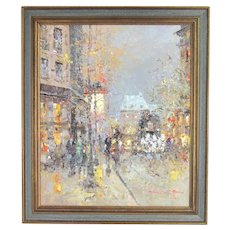 Impressionist Oil Painting Parisian Street Scene Pedestrians signed Morgan