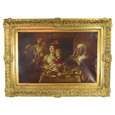 1884 Oil Painting Flemish Baroque Genre Scene Family at Table after Jacob Jordaens