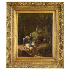 19th Century Oil Painting 2 Little Girls Riding on Top of Horse Drawn Hay Wagon