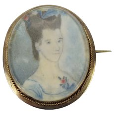 Antique Circa 1850's Miniature Portrait of Woman in 14k Rose Gold Brooch