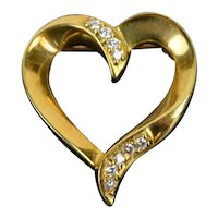 Vintage Estate 14k Solid Yellow Gold with Diamonds Heart Brooch Pendant