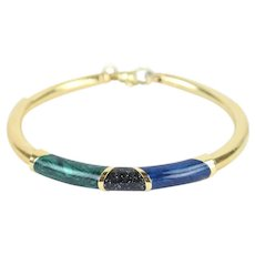 Vintage Estate 14k Solid Gold Tube Bracelet Iridescent Malachite Lapis Onyx Enamel