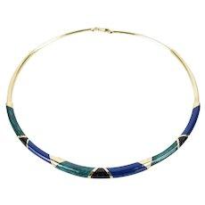 Vintage Estate 14k Solid Gold Tube Necklace Iridescent Malachite Lapis Onyx Enamel