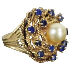 Vintage Estate 14k Gold Ring Swirl of Sapphires Around Pearl Solitaire