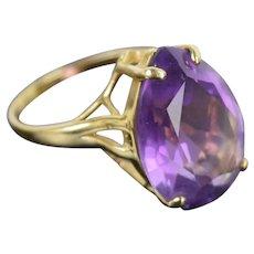 Vintage Mid-Century Modernist 14k Gold Ring Teardrop Amethyst Solitaire