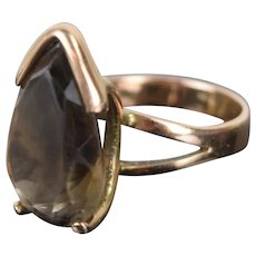 Vintage Mid-Century Modernist 14k Gold Ring Teardrop Smokey Quartz Solitaire