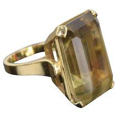 Vintage Mid-Century Modernist 14k Gold Ring Huge Baguette Citrine Solitaire