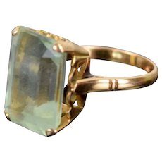 Vintage Mid-Century Modernist 14k Gold Ring Rectangular Blue Topaz Solitaire