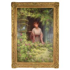 Large Circa 1910 English Genre Painting Woman with Dove in Cage Sydney Kendrick