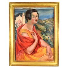 Andre Favory 1920's Oil Painting Woman in Red Shawl