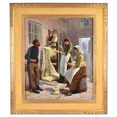 1891 Antique English Genre Oil Painting Women Mending Fishing Nets sgd Farren