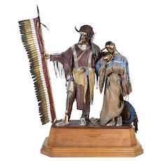 """Dave McGary """"Hearts of Conviction"""" L/E Bronze Sculpture Native American Couple"""