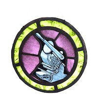 Vintage Round Stained Glass Window with Antique Printing Press