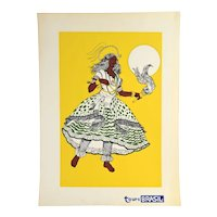 Vintage 1960s Tours Brasil Brazil Dancer Screenprint Travel Poster Yellow