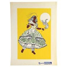 Vintage 1960s Tours Brasil Brazil Dancer Screenprint Travel Poster Yellow