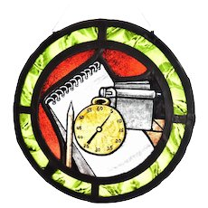 Vintage Round Stained Glass Window with Pocket Watch Clock and Notepad