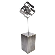 Vintage 1973 Jack Arnold Geometric Industrial Steel Sculpture Chicago Artist
