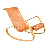 Vintage Modern Woven Leather Wood Dondolo Rocking Chair by Luigi Crassevig