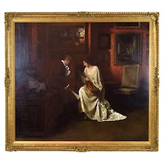 Large 19th Century Genre painting Music Lesson August Rieper German