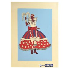 Vintage 1960s Tours Brasil Brazil Dancer Screenprint Travel Poster Light Blue