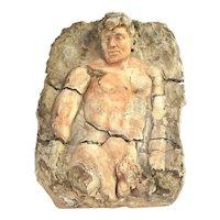 Ancient Greek or Roman Nude Male Figure Dimensional Plaster Plaque