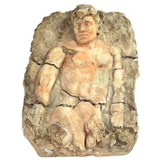 Ancient Greek or Roman Nude Male Figure Dimensional Plaster Plaque
