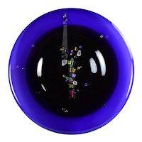 David Garcia Studio Art Glass Handblown Etched & Jeweled Disc