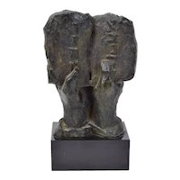 Vintage Judaica Bronze Sculpture Two Hands Holding Stone Tablet sgnd Berman