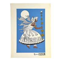 Vintage 1960s Tours Brasil Brazil Dancer Screenprint Travel Poster Dark Blue