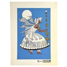 Vintage 1960s Tours Brasil Brazil Dancer Screenprint Travel Poster Dark Blue