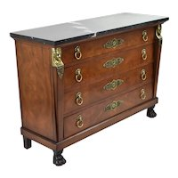 Henredon Empire Egyptian Revival Marble Top Chest of Drawers w Mounts