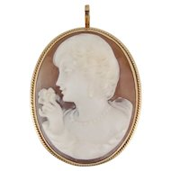 Vintage Giovanni Apa 14K Gold Carved Shell Cameo Pendant Pretty Lady Brooch