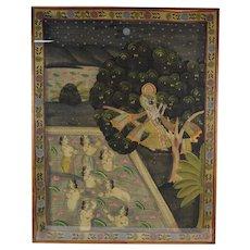 Hindu Pichhwai Painting Krishna Stealing Garments of Unmarried Nude Gopī Girls