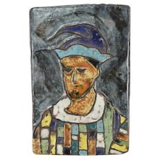 Vintage Mid-Century Modern Pottery Wall Plaque of Harlequin