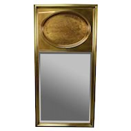 Vintage Modern Brass Clad Trumeau Mirror Bernhard Rohne for Mastercraft