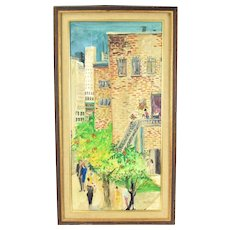 Mid-Century Oil Painting City Neighborhood Scene People in Vintage Clothing signed