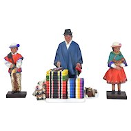 Ecuadorian Folk Art Pottery Figures Blanket Vendor & Kids Signed Vasconez Sisters