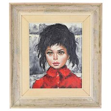 Vintage Mid-Century Oil Painting Cityscape Girl w Black Hair Brown Eyes Red Coat