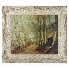 Impressionist Oil Painting Autumn Landscape Forest Road Alfred Bastien Belgian