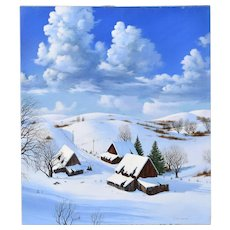 """Afternoon Thunderheads"" Oil Painting Winter Farmstead Scene R. Danskin California"