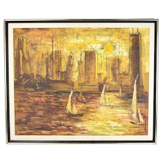 Mid-Century Modern Abstract Painting Chicago CityScape Marina Towers Hancock Bldg