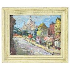 Small Vintage Mid-Century Impressionist Oil Painting Parisian Street Scene sgd Jeret