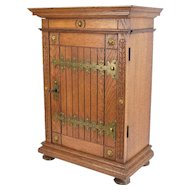 Gothic Revival Oak Locking Wall Cabinet w Strap Hinges Adjustable Shelves