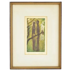 Circa 1950 Mexican Aquatint Etching Nude Man and Woman in Nature Mario Reyes