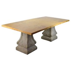 Vintage Burled Wood Top Dining Table Neo-Classical Architectural Cast Stone Base