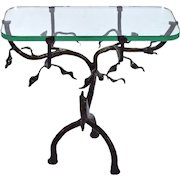 Vintage Artist Made Twig and Owl Bronze Patinated Iron Table w Glass Top