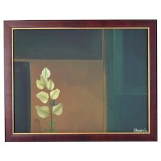 Minimalist Tonal Oil Painting Plant Frond with Door signed Olivares