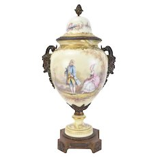 Sevres Hand Painted Porcelain Urn Bronze Satyr Masks sgnd Poitevin as-is