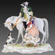 Ernst Bohne German Porcelain Figurine Lovers on Horseback Mimicked by Dog