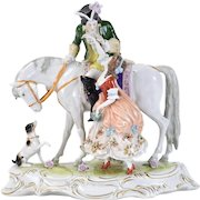 Ernst Bohne German Porcelain Figurine Lovers on Horseback Mimicked by Dog